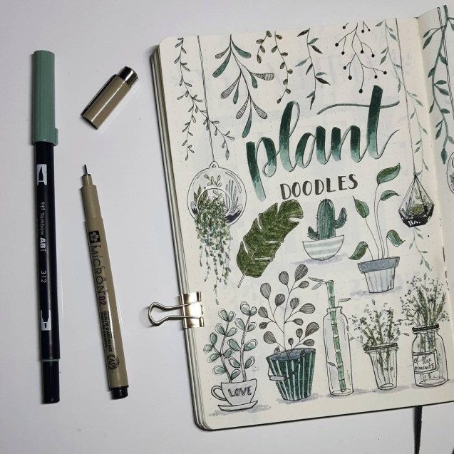 plant doodle bullet journal spread