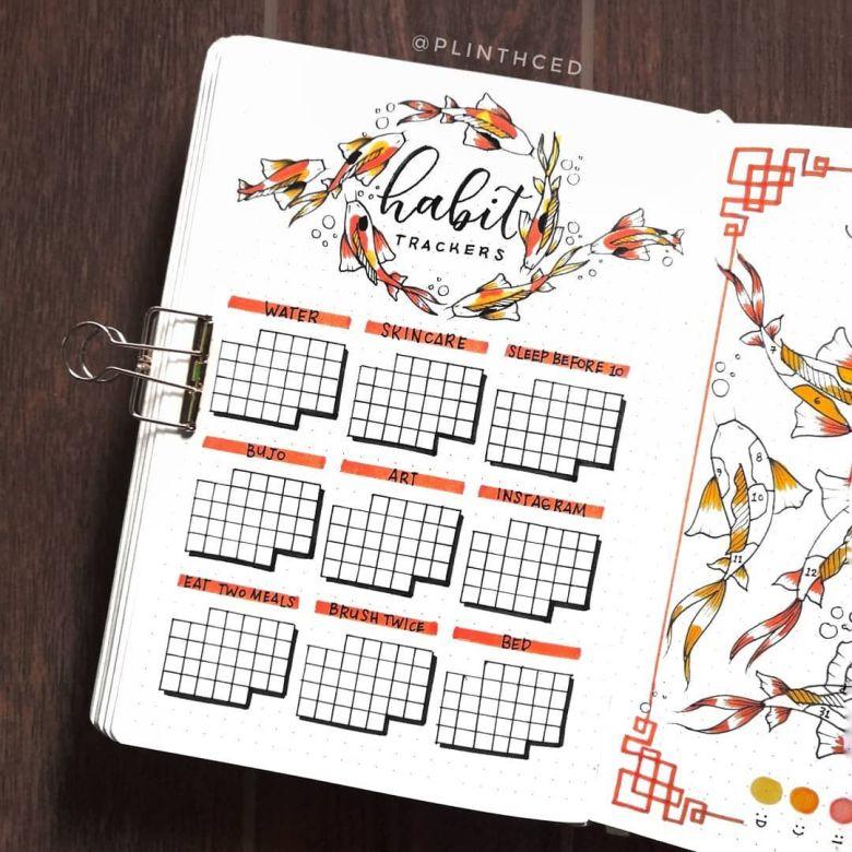 habit tracker bujo spread ideas