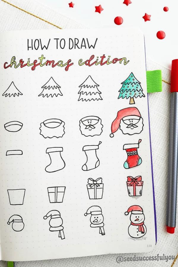 Bullet journal doodles December