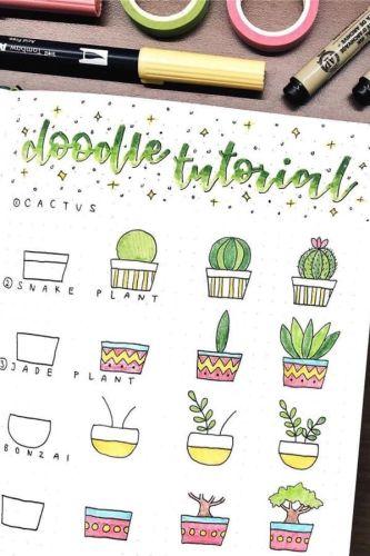 Bullet journal doodles step by step