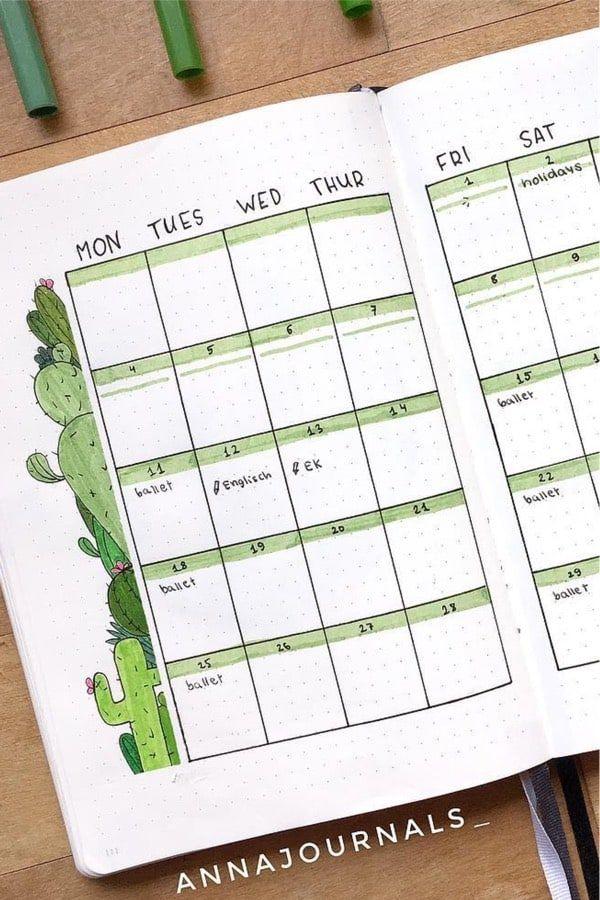 Bullet journal weekly spread minimalist