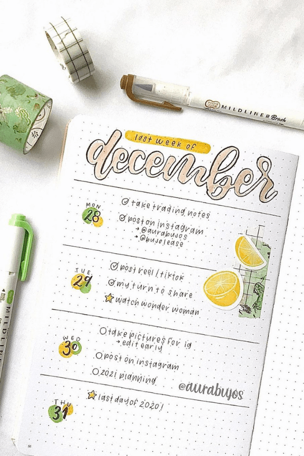 Bullet journal weekly spread one page
