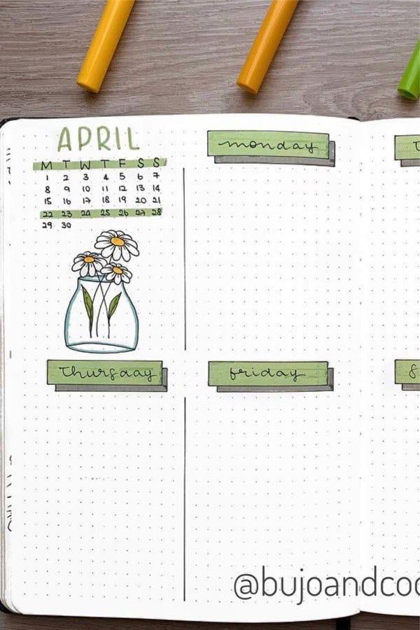 Bullet journal weekly spread template