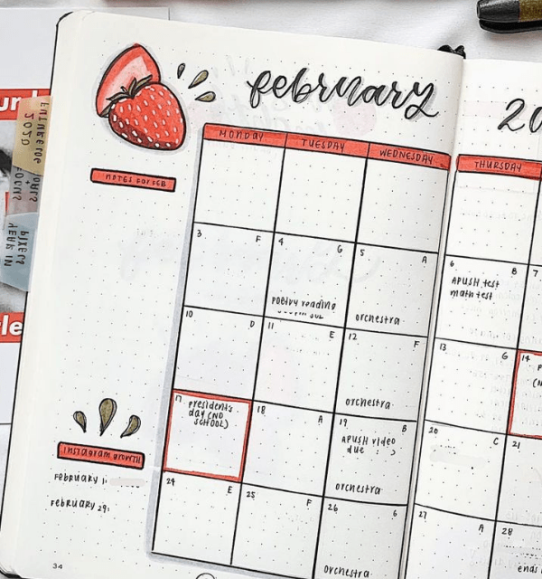 February spreads bullet journal