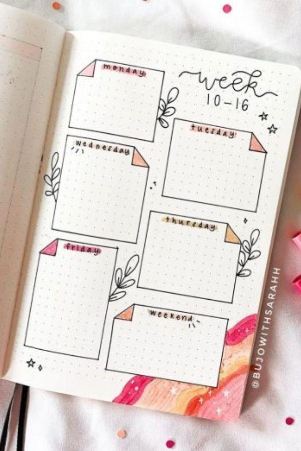 April bullet journal weekly spread flowers