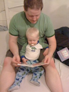 E and Daddy, reading stories