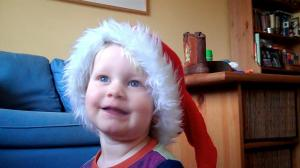 E, 2.5 years, in pjs and Santa hat