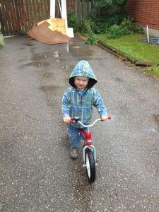 three-year-old on Radio Flyer balance bike