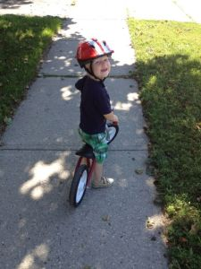 3-year-old E on the balance bike
