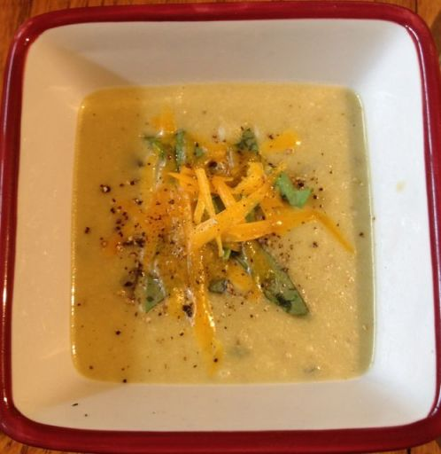 Creamy Spring Cauliflower-Cheddar-Sorrel Soup