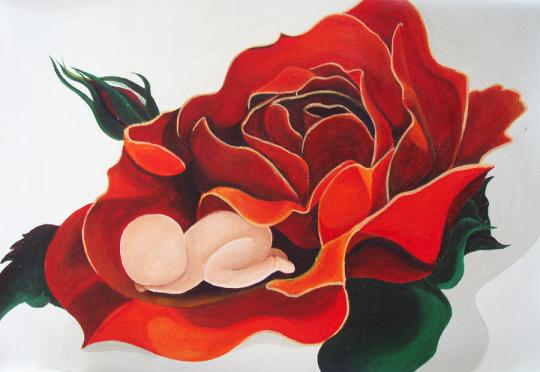healing-painting-baby-sleeping-in-a-rose-catt-kyriacou