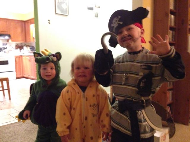 dragon, giraffe, pirate costumes