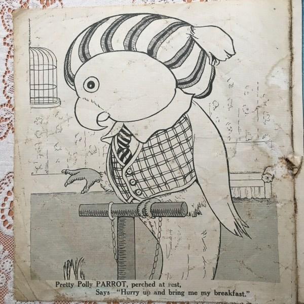 antique children's animal book parrot