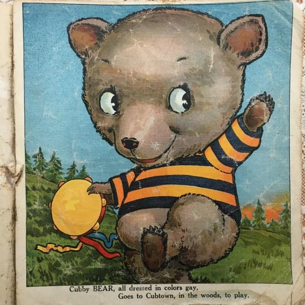 antique children's book cubby bear