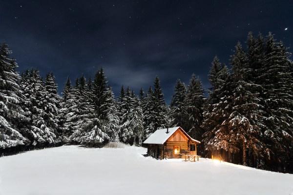 Free image via pexels.com cabin forest winter night