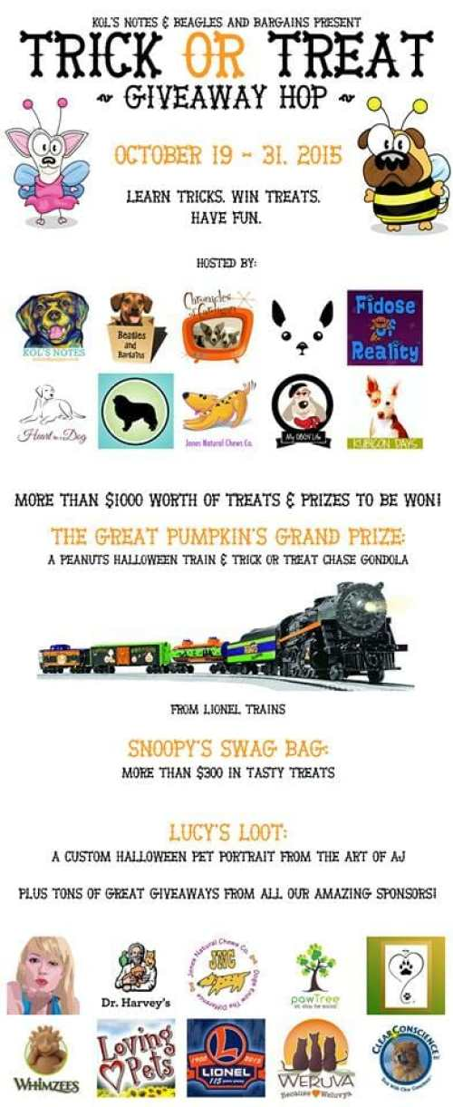 Join us for a fun giveaway hop! Each day you will learn a trick and be entered into a treat giveaway! Great prizes for you and your dog!