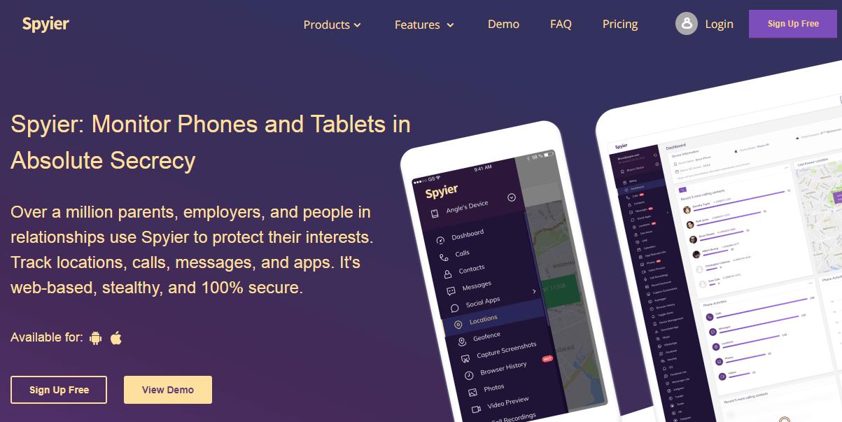 Spyier homepage