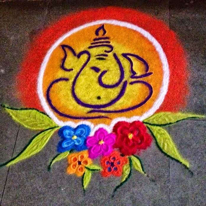 most adorable ganpati rangoli design