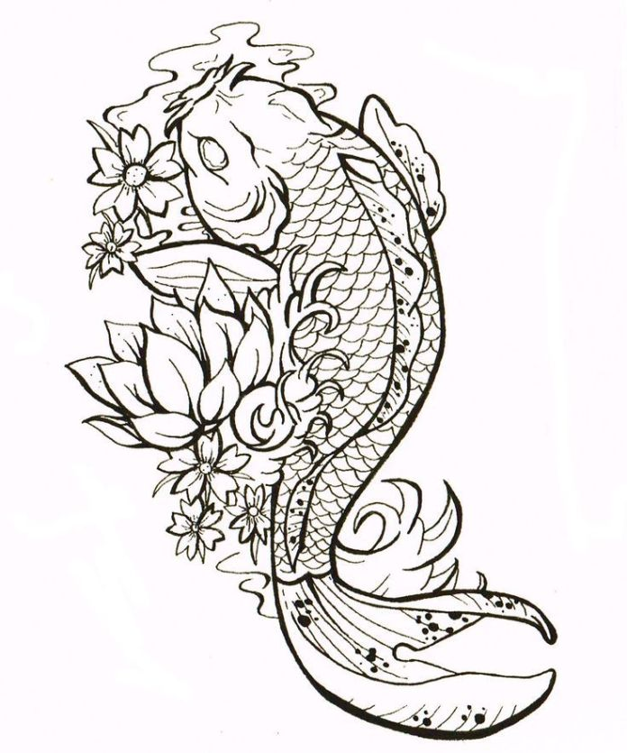 hindu-tattoos-fish-tattoos cluster flower with koi fish design for tattoo