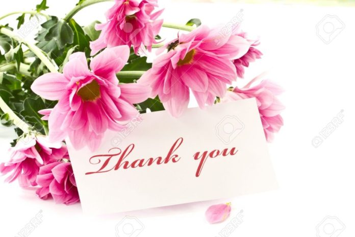 Thank you images with pink flowers in background