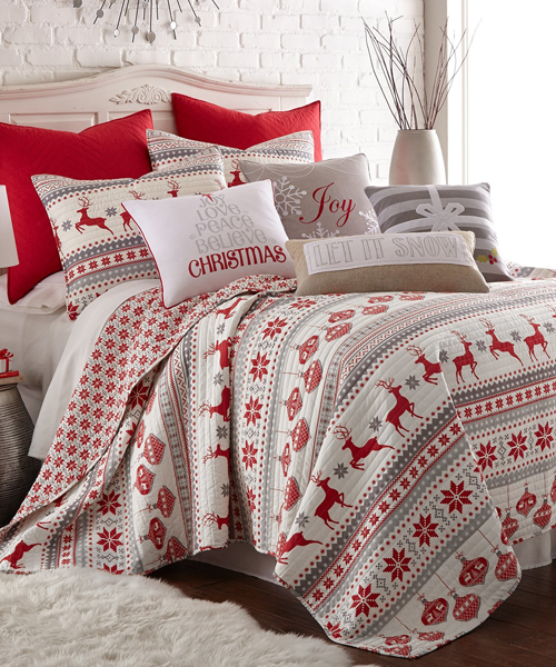 Silent Night Twin Quilt Set, Red Grey & White from Canadian Log Homes