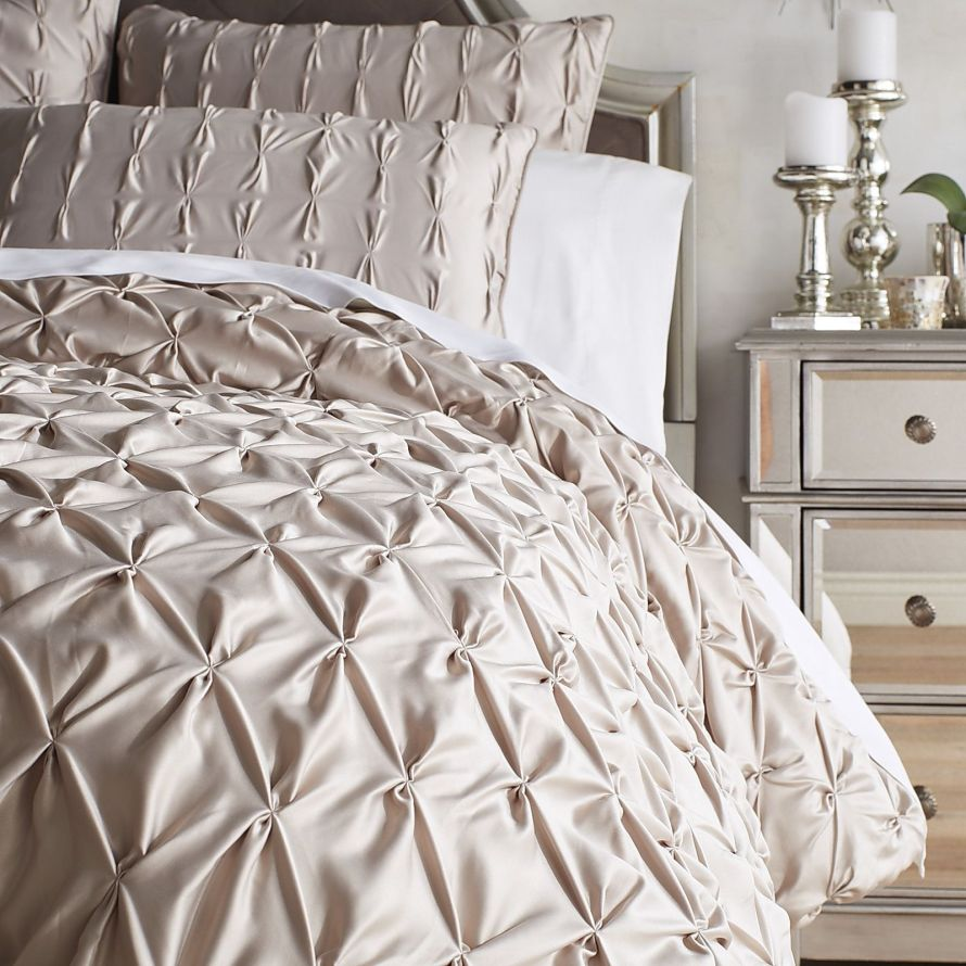 Satin Pintuck Dove Gray Duvet Cover & Sham