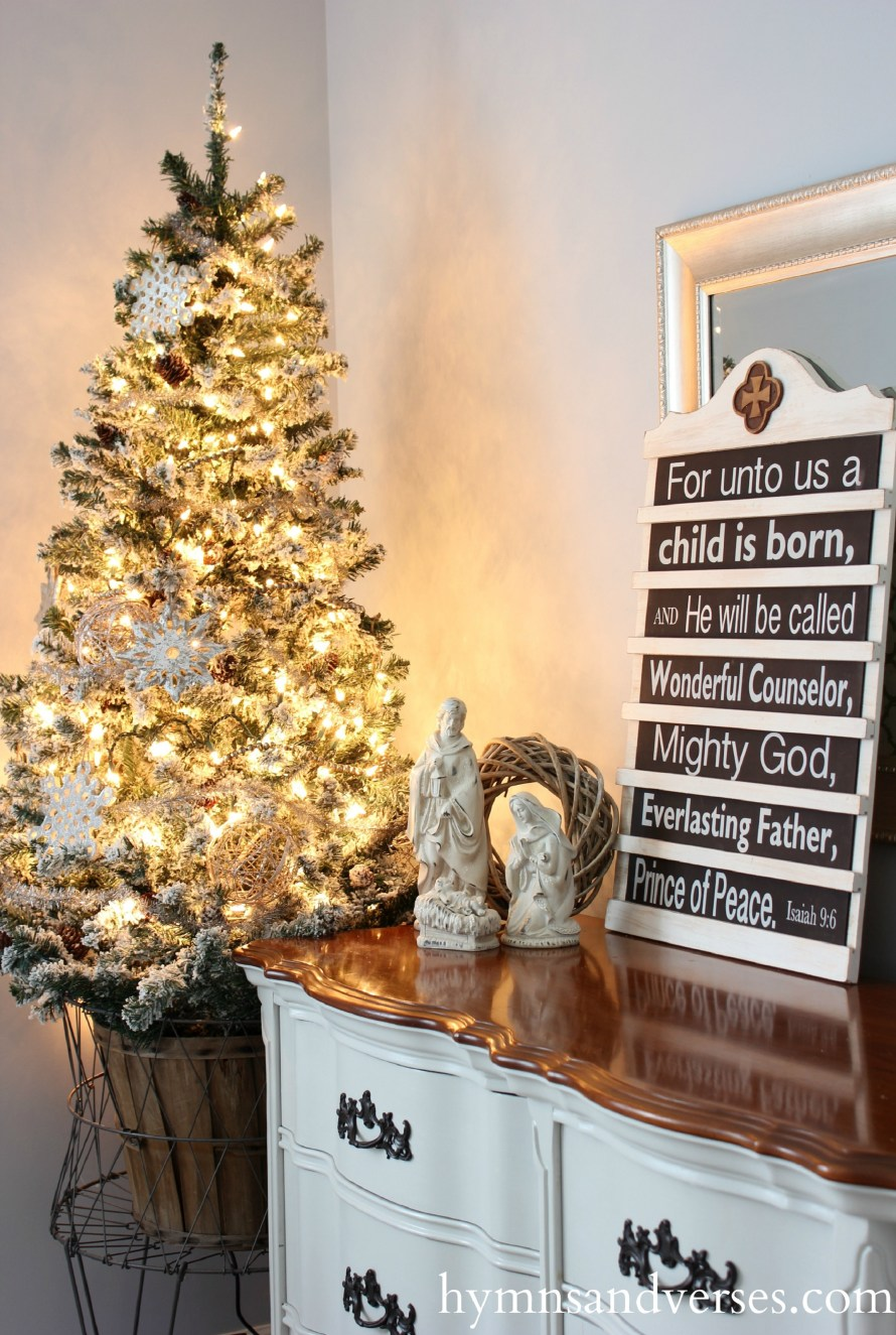 Doreen Cagno's Hymns & Verses Isaiah 9:6 Plaque and Christmas Tree in Vintage Laundry Basket
