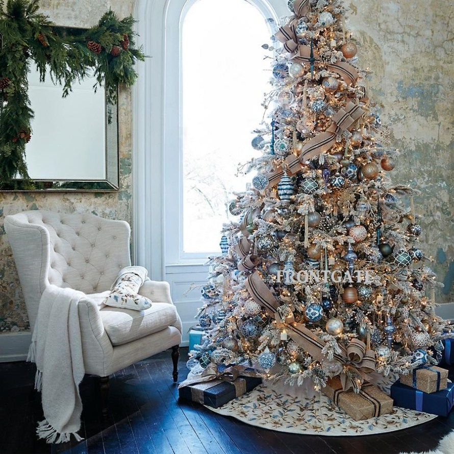 French Blue and Linen 60-pc. Ornament Collection on Christmas Tree