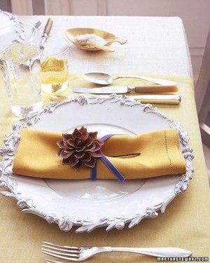 pretty pine cone floret napkin rings