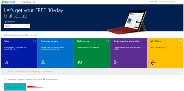 Select the Dynamics 365 apps you are interested in.