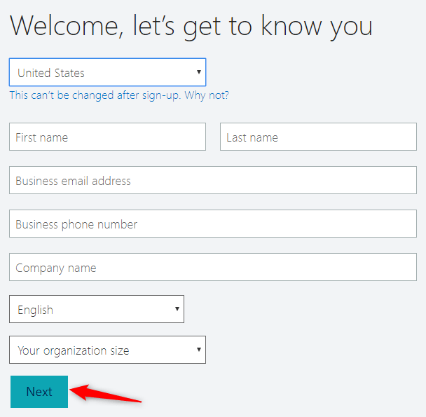 """Enter the required information and click on """"Next"""""""