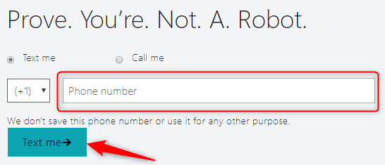 Enter your phone number to verify that you are not a robot
