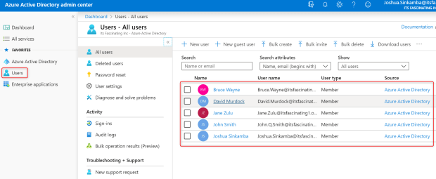 Azure Active Directory Users