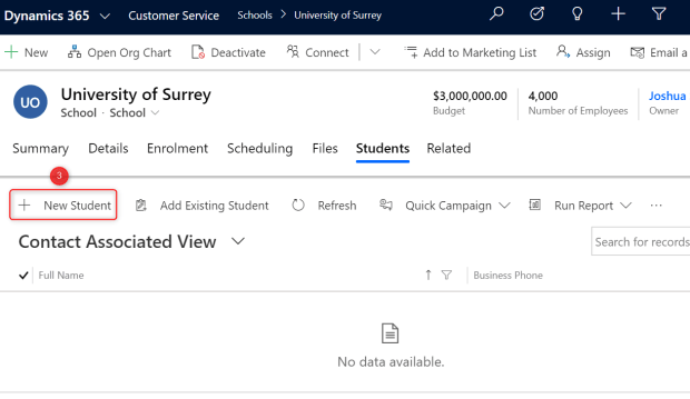 Create Student record via Form related entities