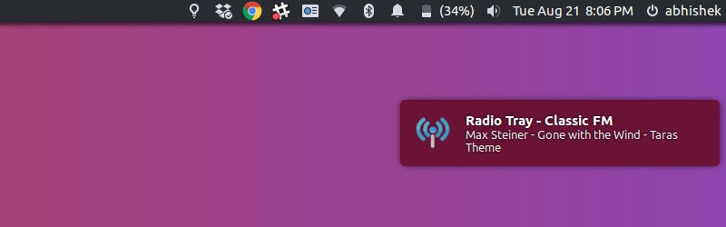 Online Radio Notification in Ubuntu