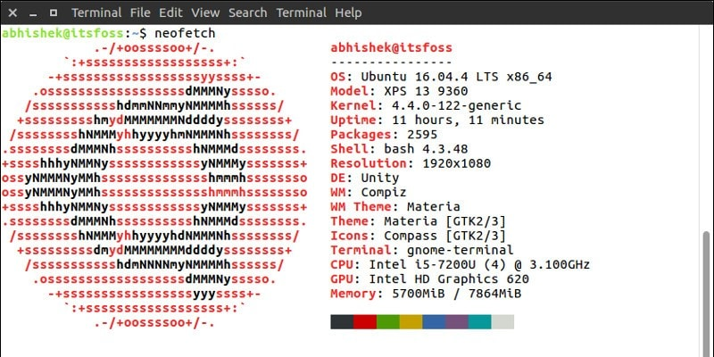 System information in Linux terminal