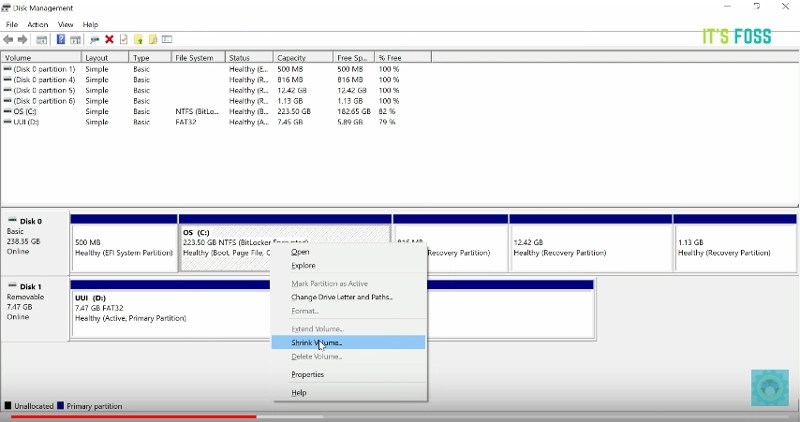 Create disk partition to dual boot Linux Mint and Windows 10