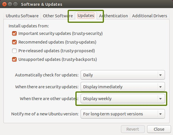 Change software update settings in Ubuntu 14.04