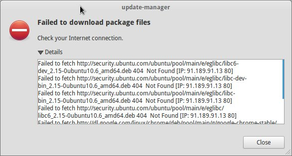 failed to download package files error in Ubuntu 14.04