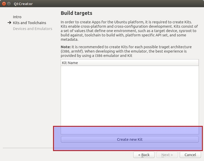 Create kit in Ubuntu SDK
