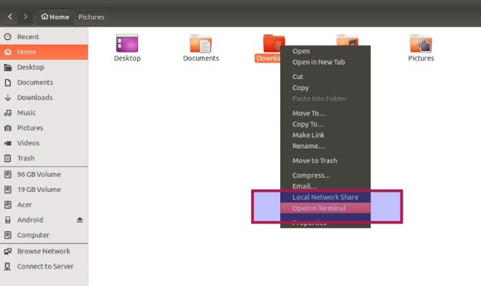Open With Terminal new feature in Ubuntu 15.04