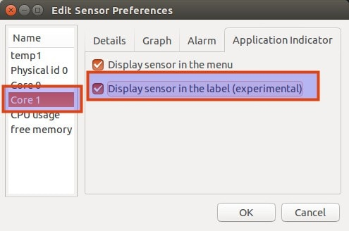 display temperature in top panel with psensor in Ubuntu
