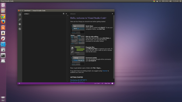 Visual Studio Code running in Ubuntu