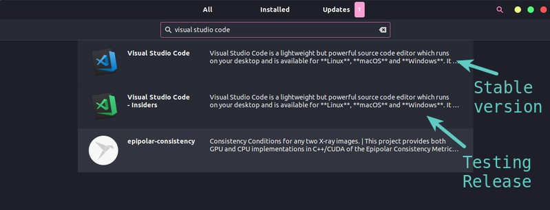 Visual Studio Code in Ubuntu Software Center