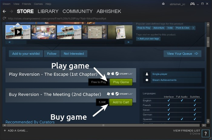 Using steam for gaming