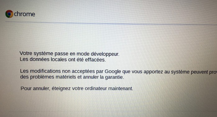 booting into developer mode in chromebook