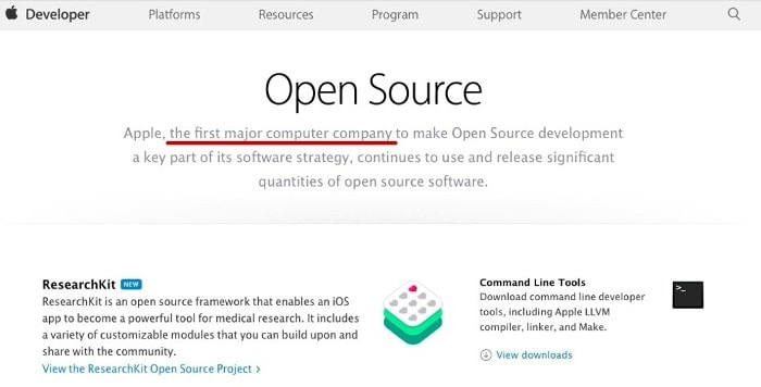 Apple leader of Open Source world