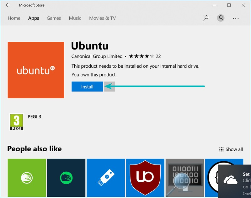 Install Ubuntu from Windows Store