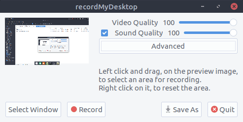 recordMyDesktop Interface