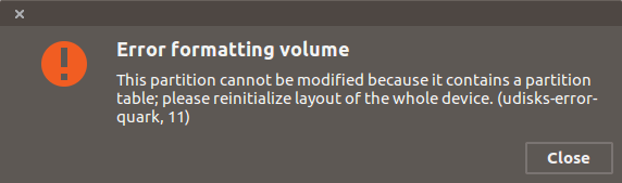 This partition cannot be modified because it contains a partition table; please reinitialize layout of the whole device. (udisks-error-quark, 11)